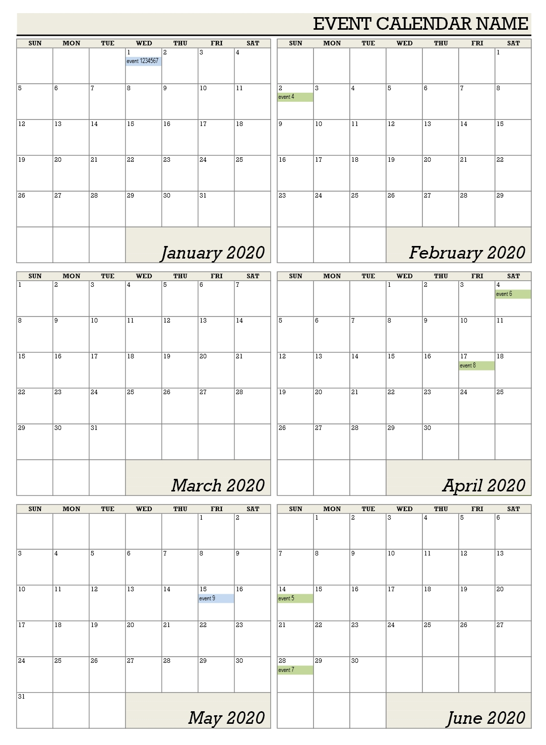 6 monthly calendar template