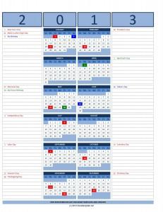 2013 Excel Custom Calendar