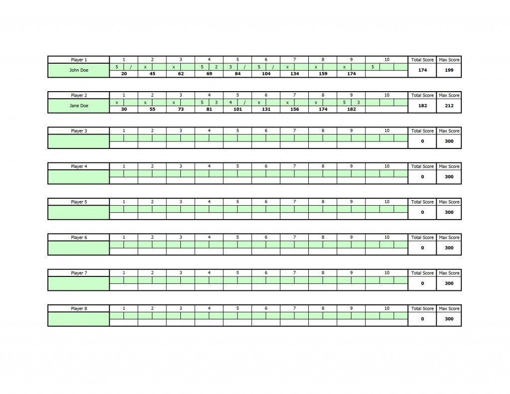 Excel Bowling Score Sheet Template