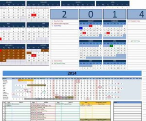 Custom 2014 Calendar Templates for Microsoft Excel