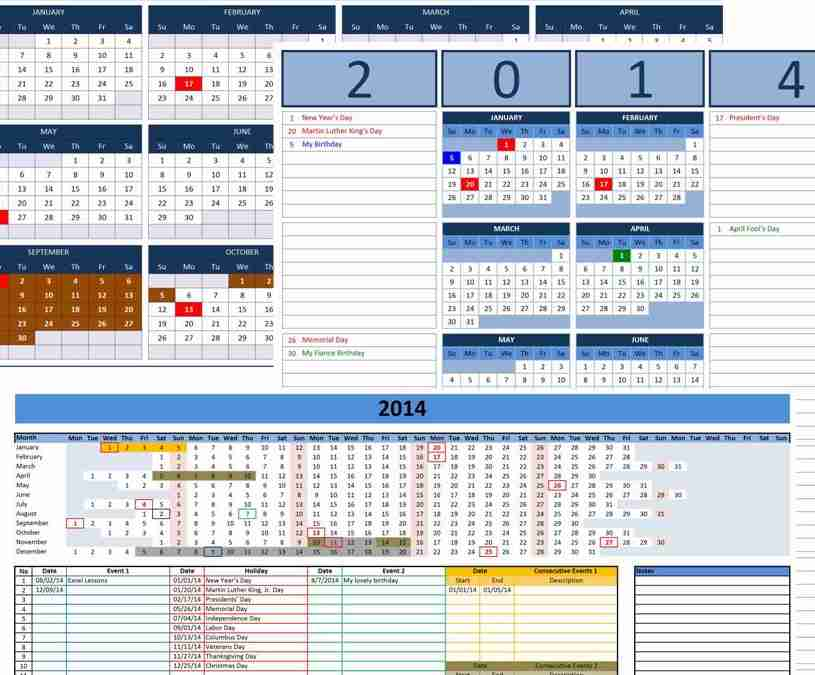 Free custom 2014 calendars template custom 2014 calendar templates for microsoft excel saigontimesfo