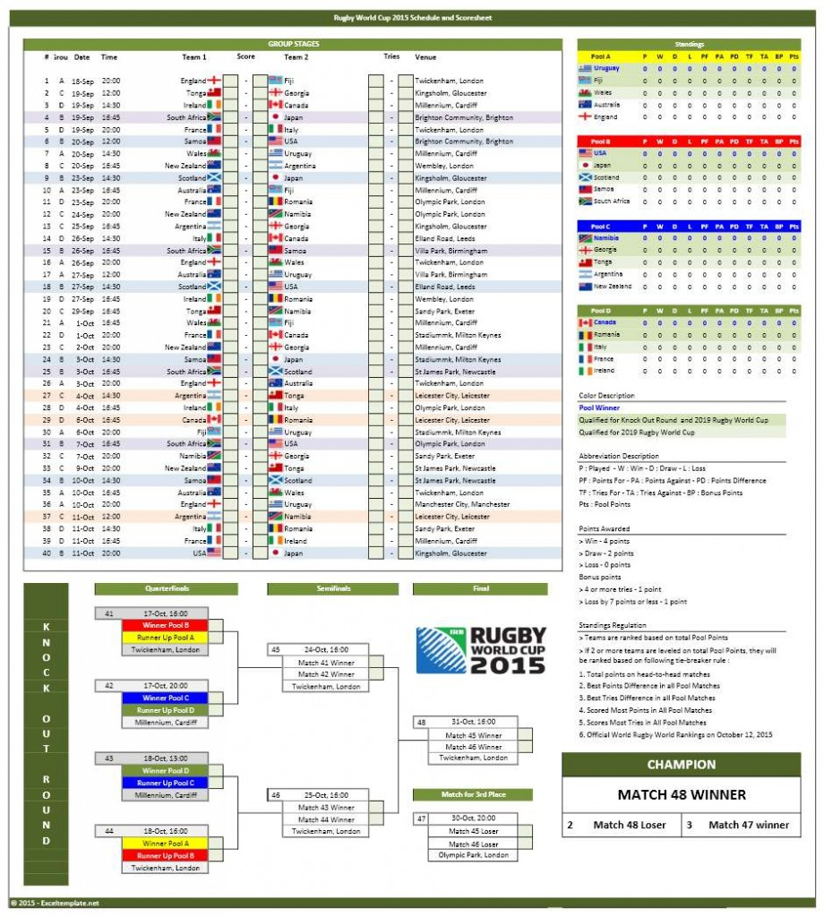 2015 Rugby World Cup Fixtures Excel Template