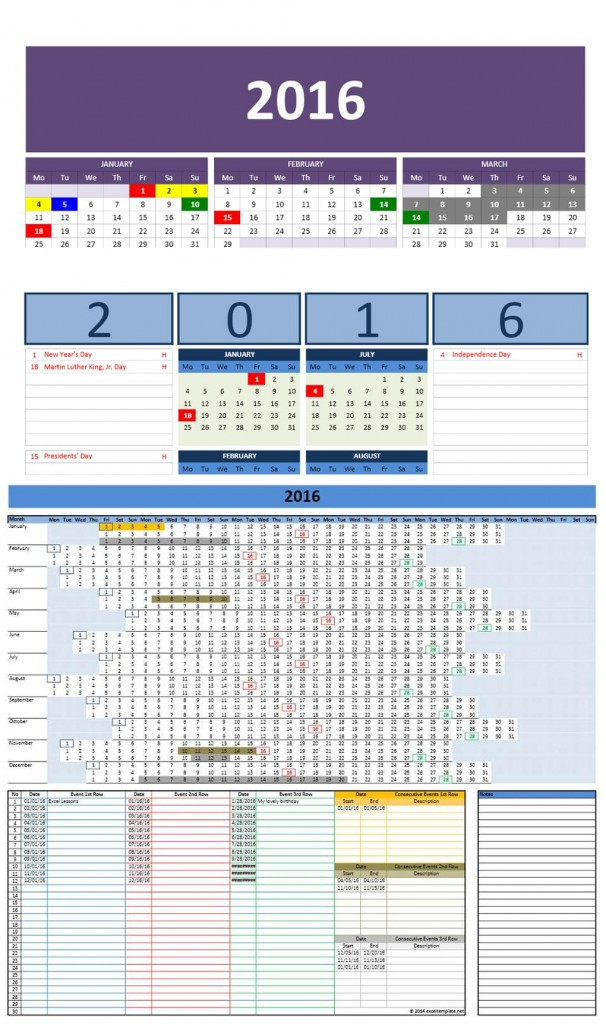 Office Calendar 2016 : Microsoft and open office templates