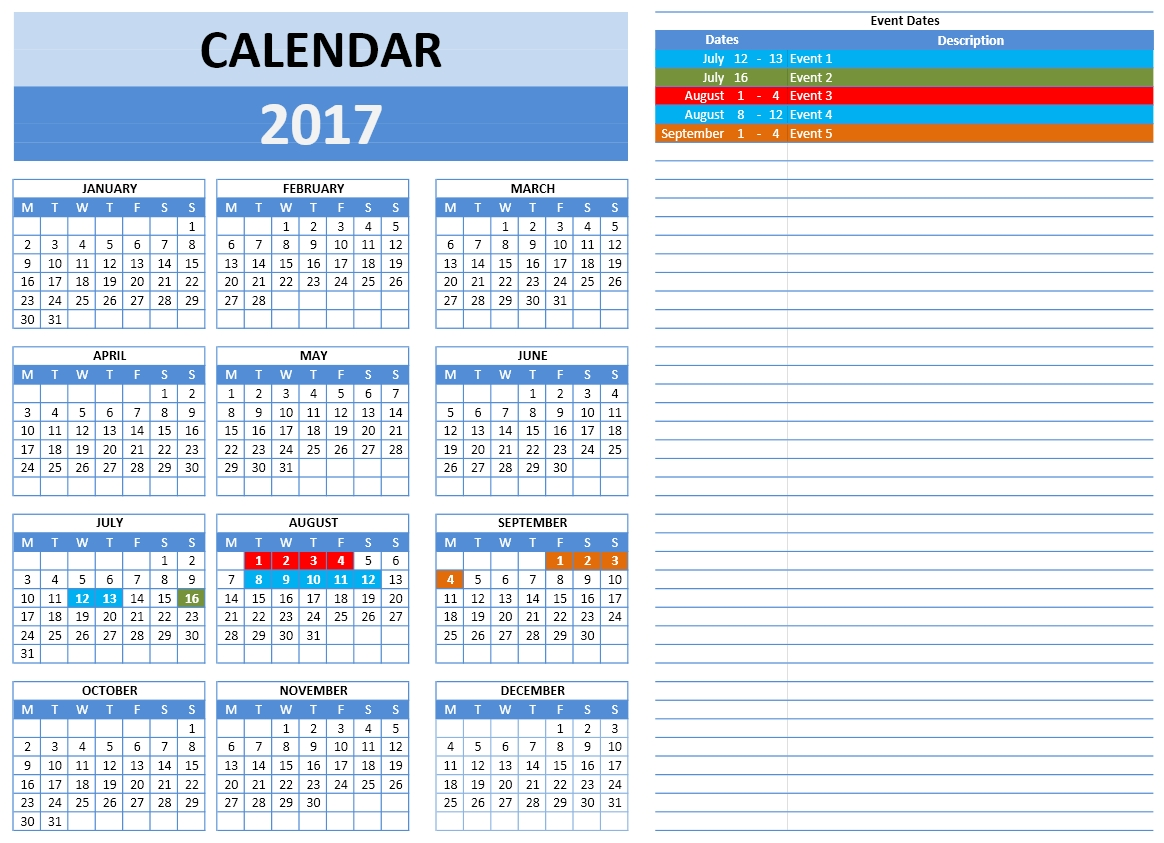 2017 monthly calendar templates