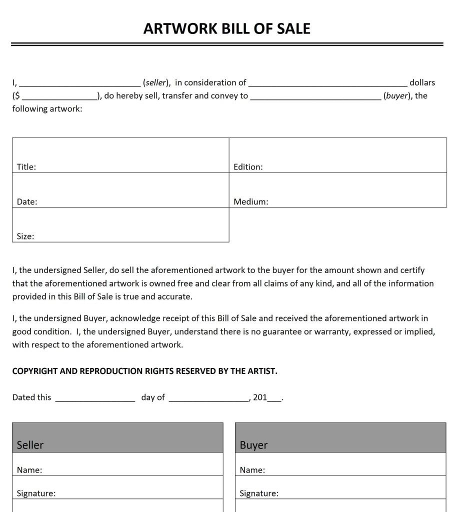 Artwork Bill of Sale Template - Word