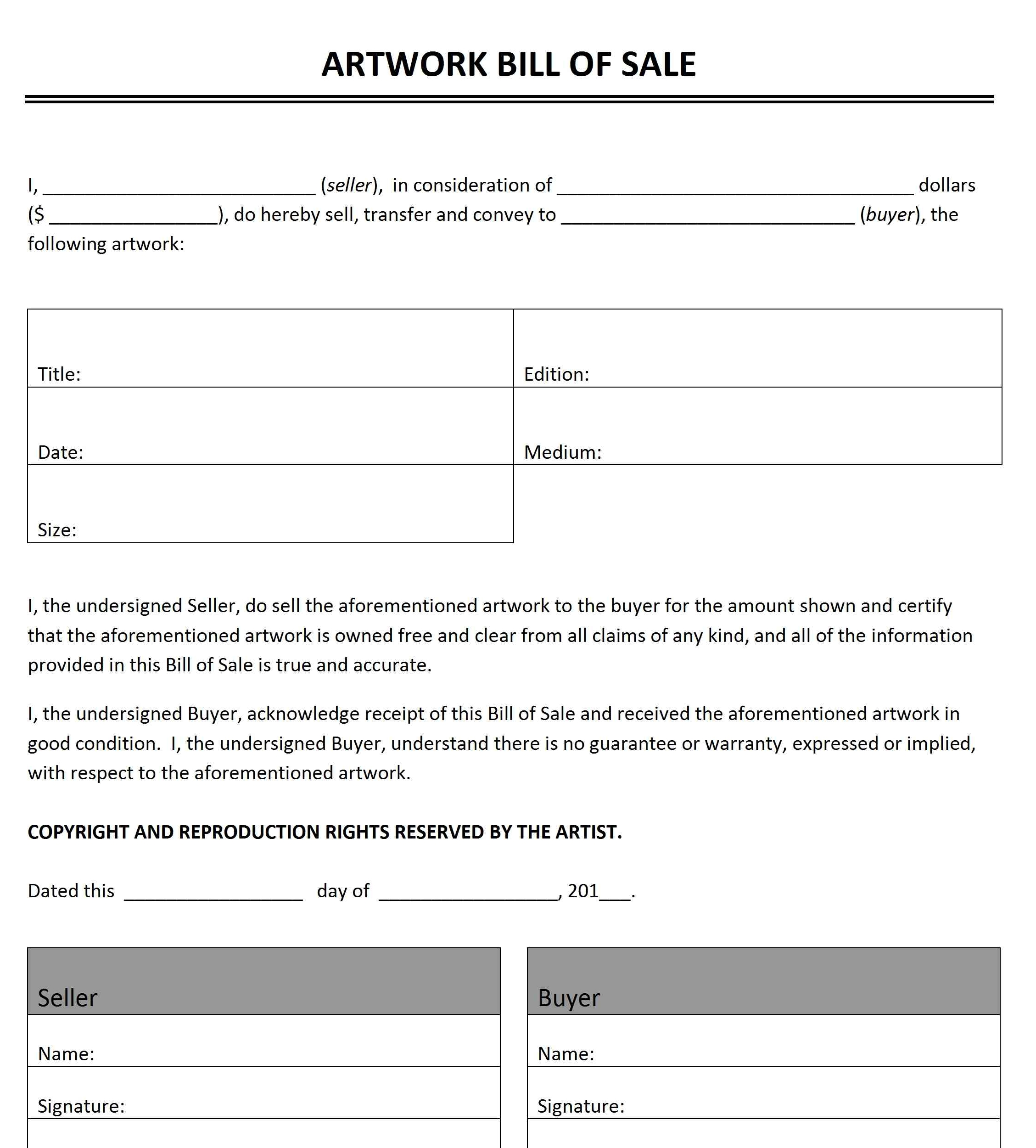 bill of sale print out
