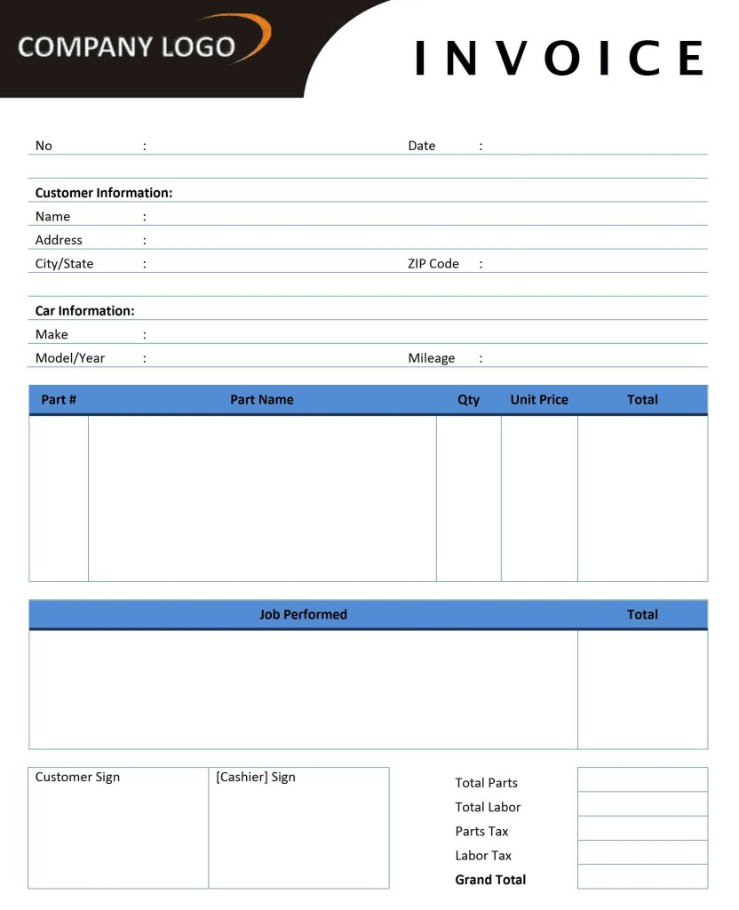 Auto Repair Invoice Template - Word