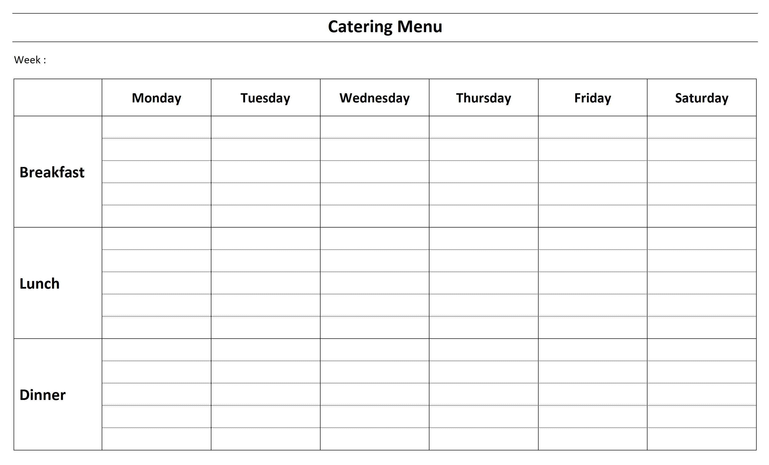 Catering Menu Template   Word  Catering Menu Template Free