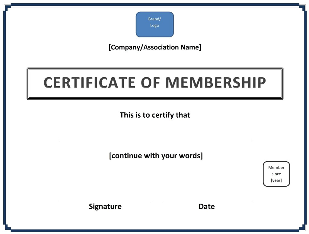 Certificate of Membership Template - Word