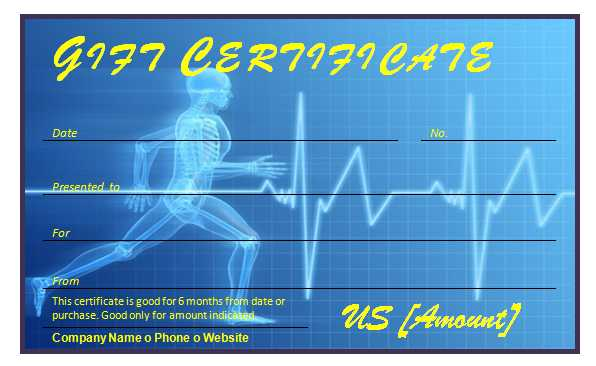 Fitness Gift Certificate Template for Word