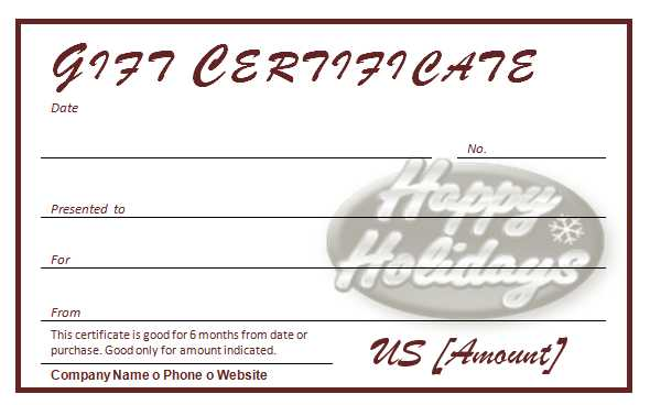 Free Holiday Gift Certificates Template – Free Holiday Gift Certificate Templates