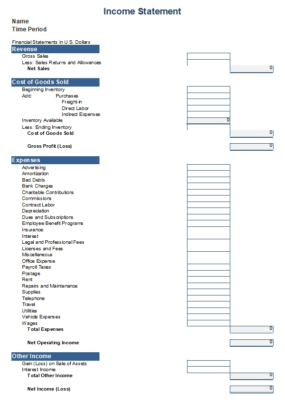 Free Income Statement Template Template