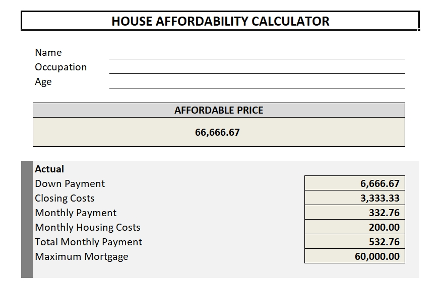 Free Home Affordability Calculator Template