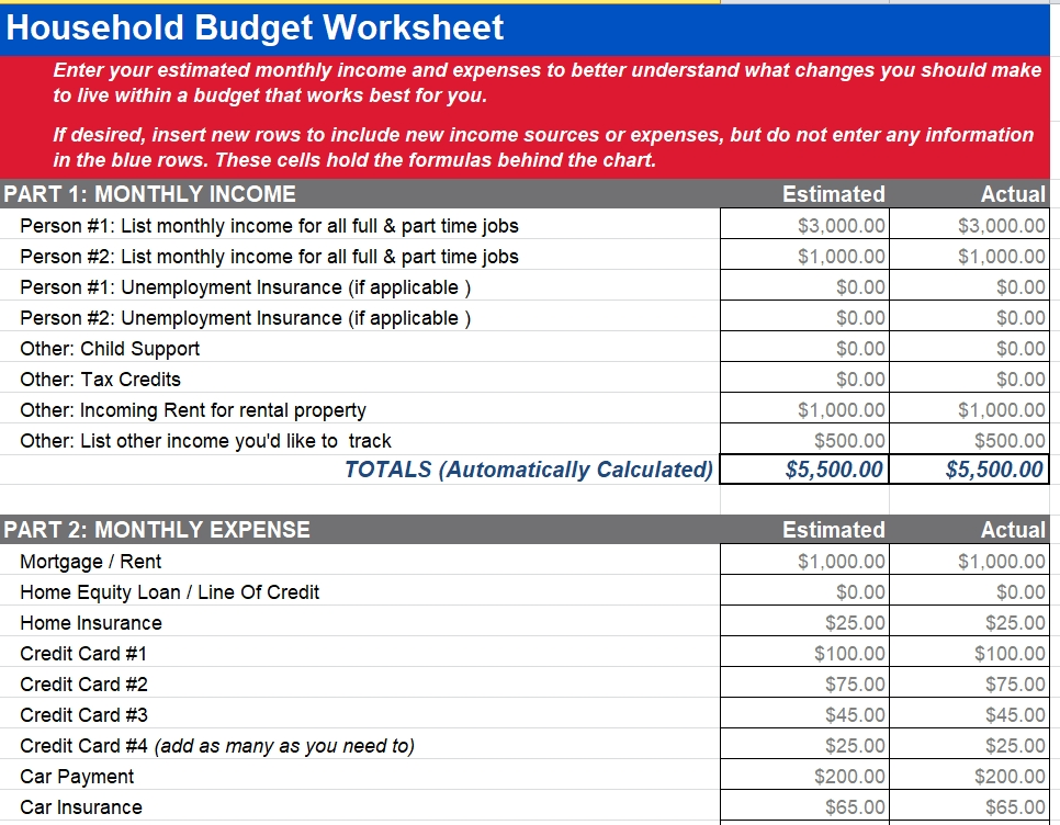 Free Household Budget Template Template