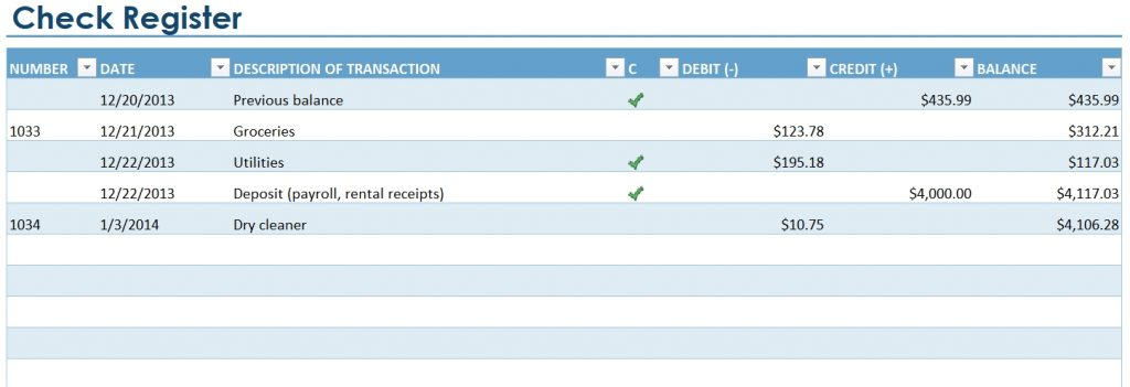 Excel Checkbook Register Template
