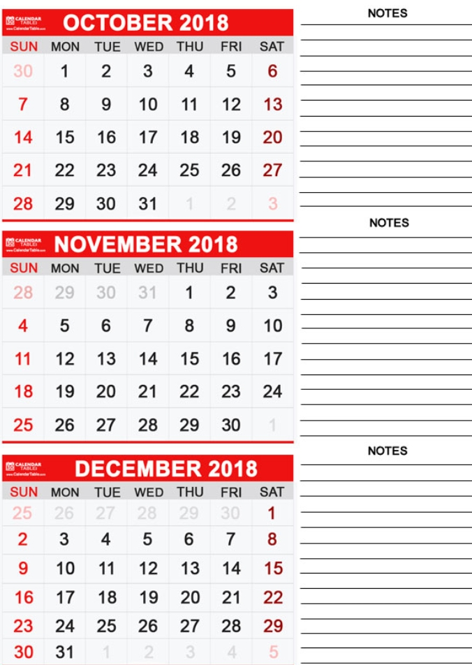 3 Monthly Calendar Template