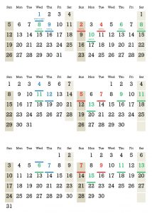 Six-Monthly Calendar