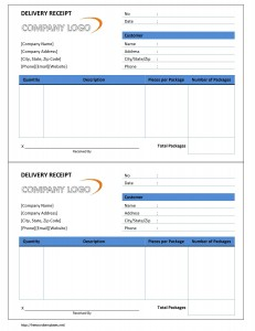 Delivery Receipt Form Word Template