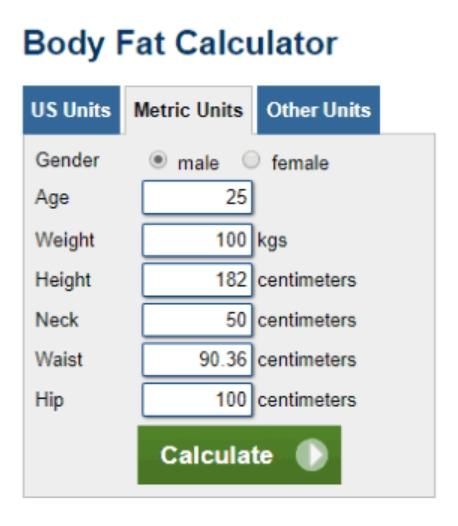 Excel Body Fat Calculator