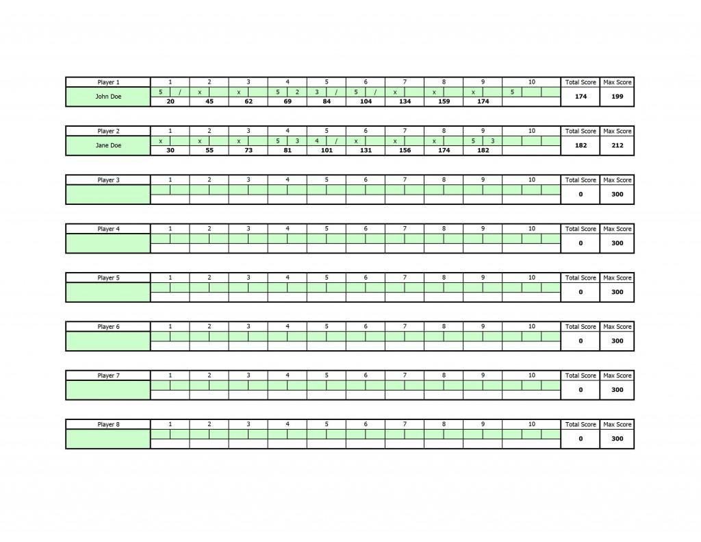 Excel Bowling Score Sheet Template