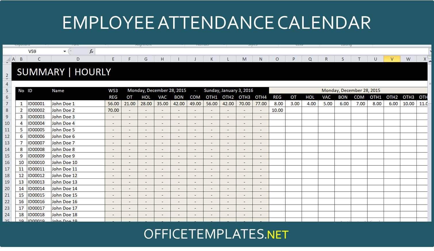 Employee Attendance Tracker Spreadsheet Officetemplates Net