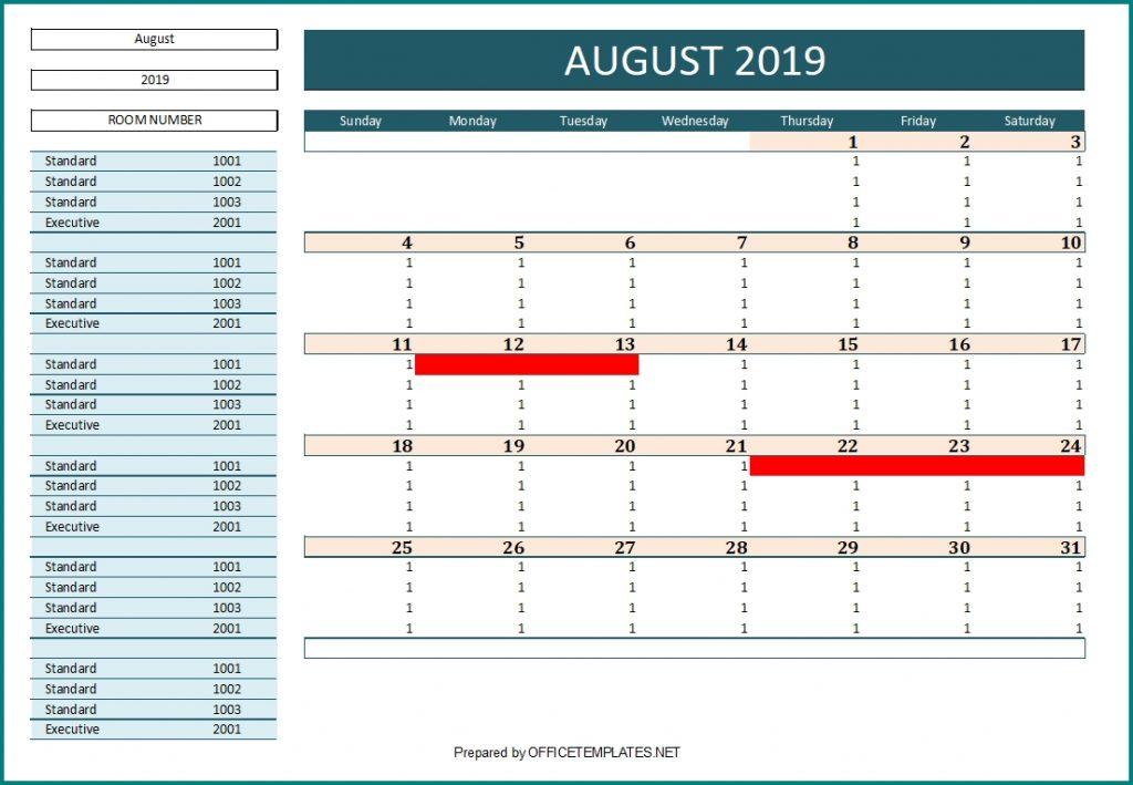 Hotel Reservation Calendar - Model 1 > OFFICETEMPLATES.NET