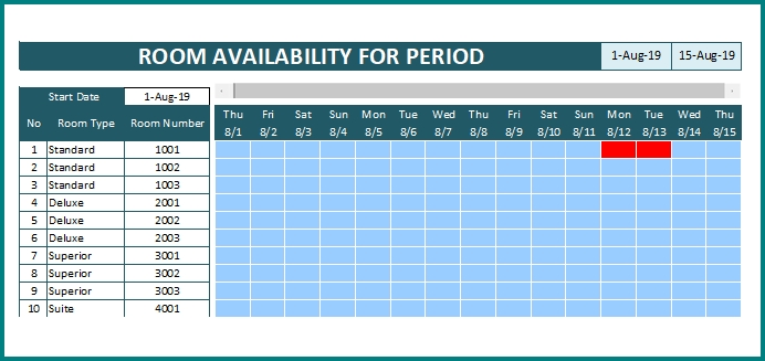Hotel Reservation Calendar - Model 2 > OFFICETEMPLATES.NET