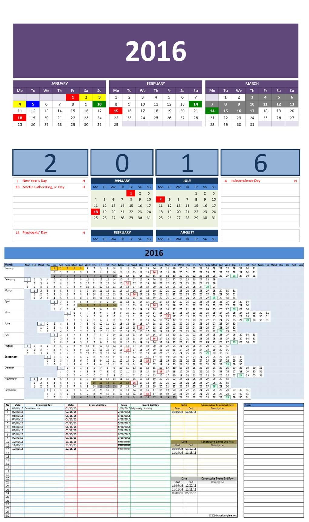 free 2016 excel calendars template
