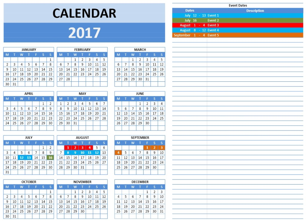 2017 Year Calendar Template with Single Event Table for Excel