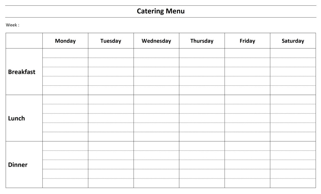 Catering Menu Template - Word