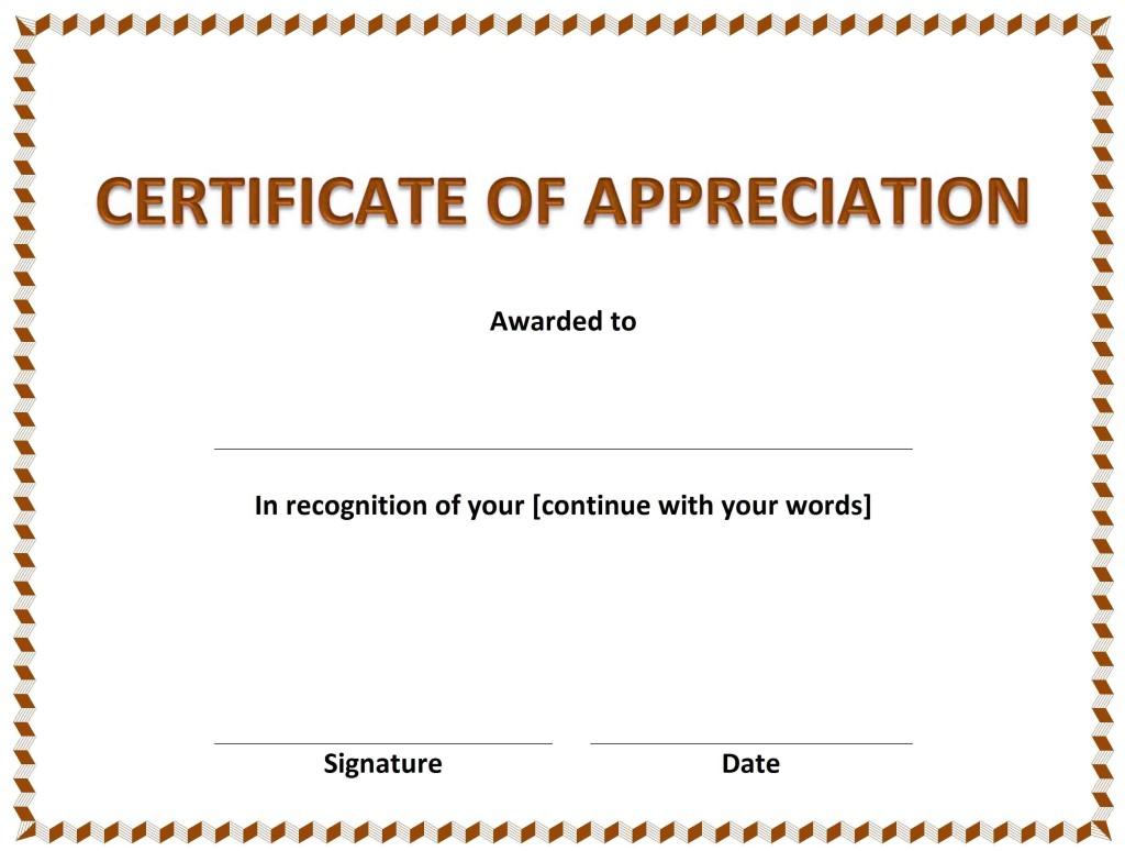 Certificate of Appreciation Template - Word