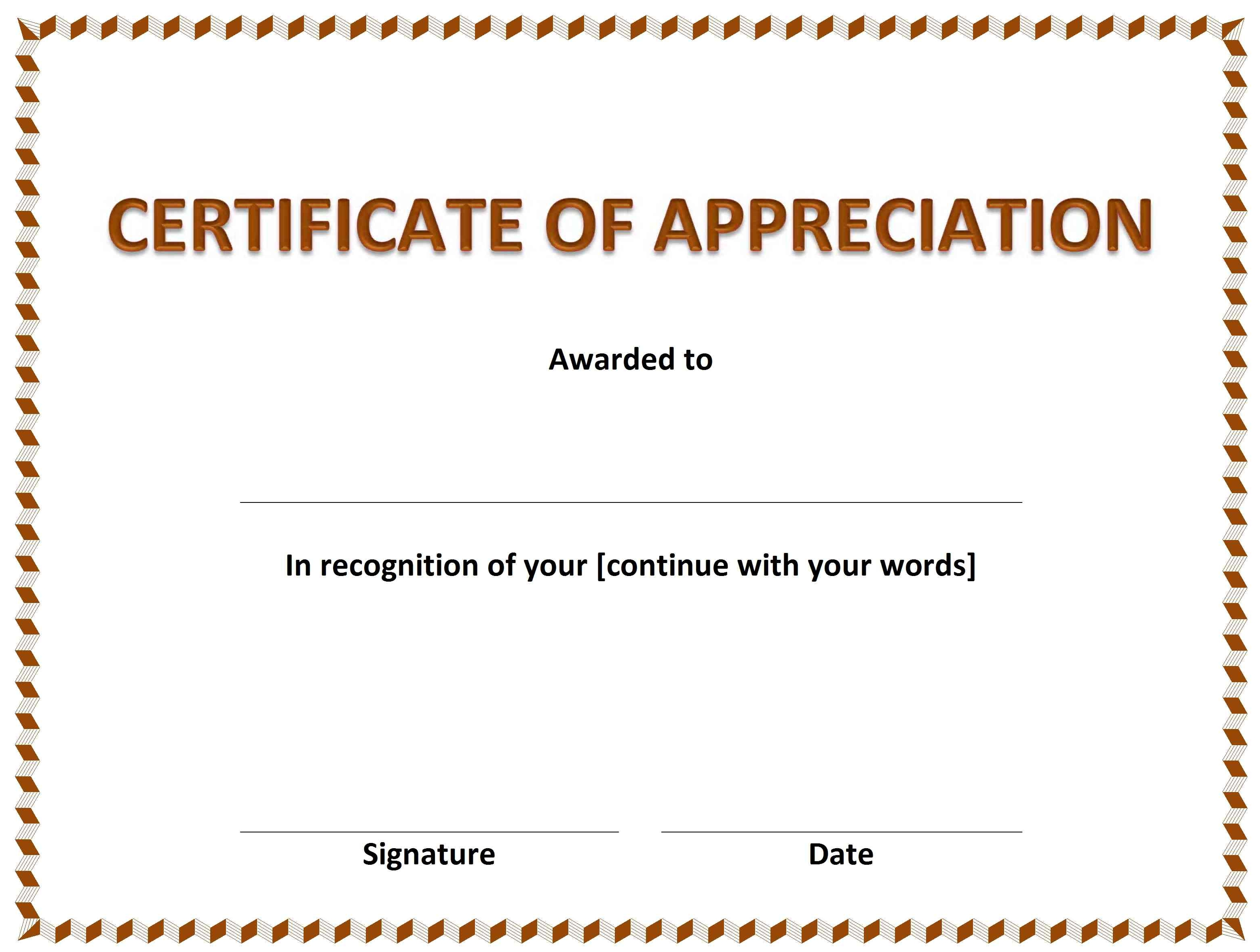 Certificate of Appreciation » OFFICETEMPLATES.NET Pertaining To Running Certificates Templates Free