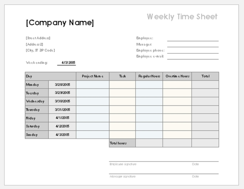Employee Time Sheet Tracker Template for Excel