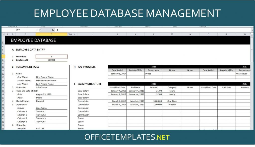 Employee Database Excel Template