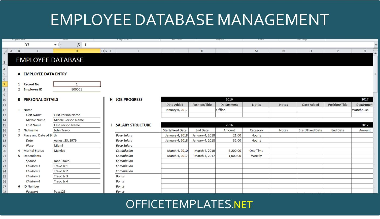 Employee Database Management Spreadsheet Officetemplates Net