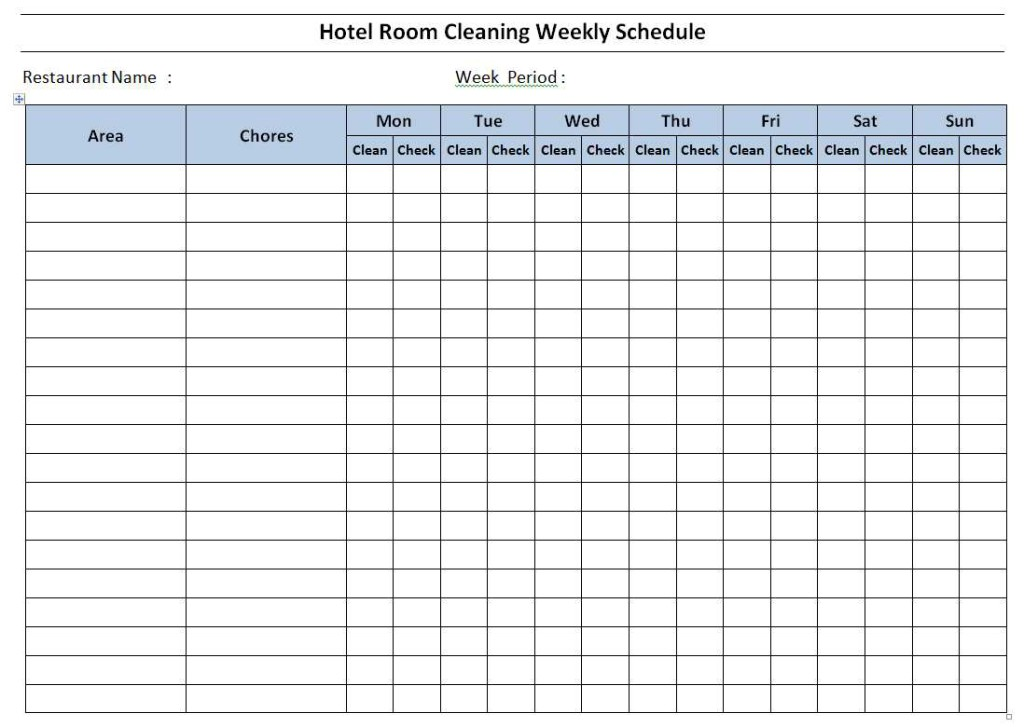 Hotel Room Cleaning Schedule Template Word