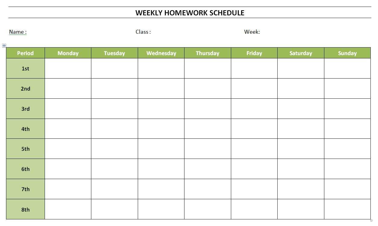 Free Weekly Homework Schedule Template