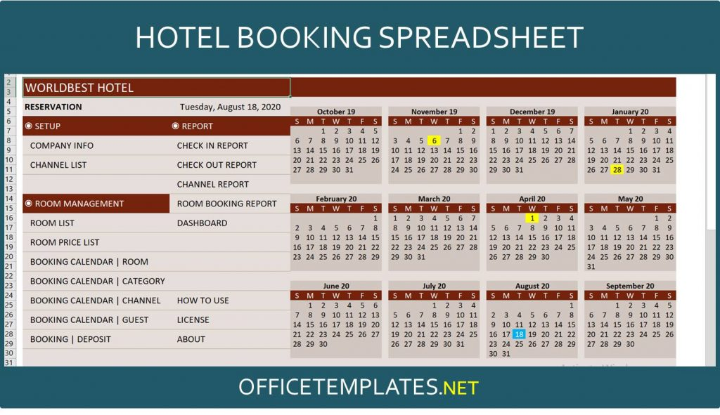 Hotel Booking Spreadsheet Template