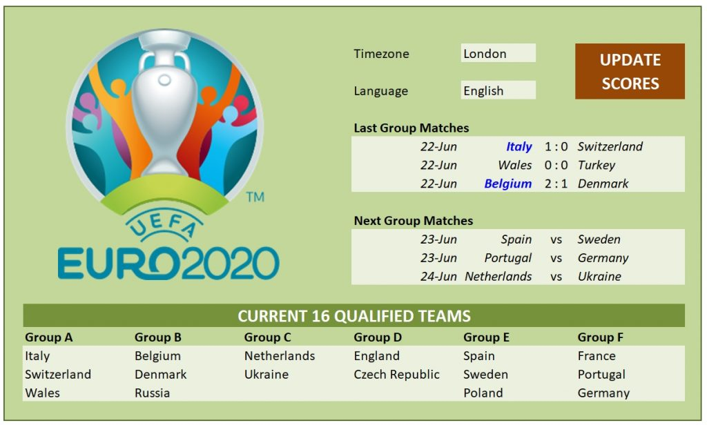 Euro 2020 Final Tournament Schedule and Scoresheet for Excel