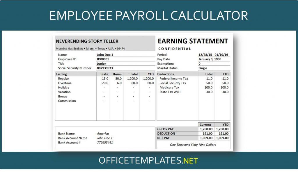 Employee Payroll Calculator Officetemplates Net