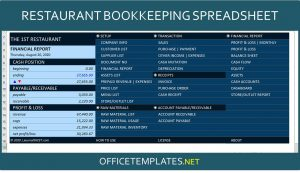 Restaurant Bookkeeping Template