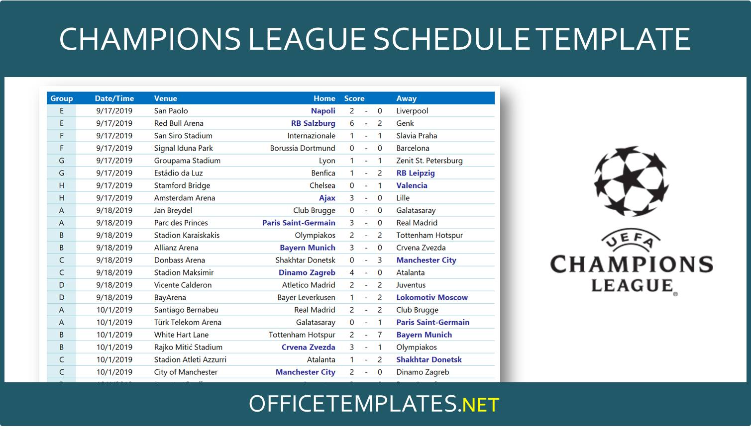 UEFA Champions League 2020/2021 Schedule » OFFICETEMPLATES.NET
