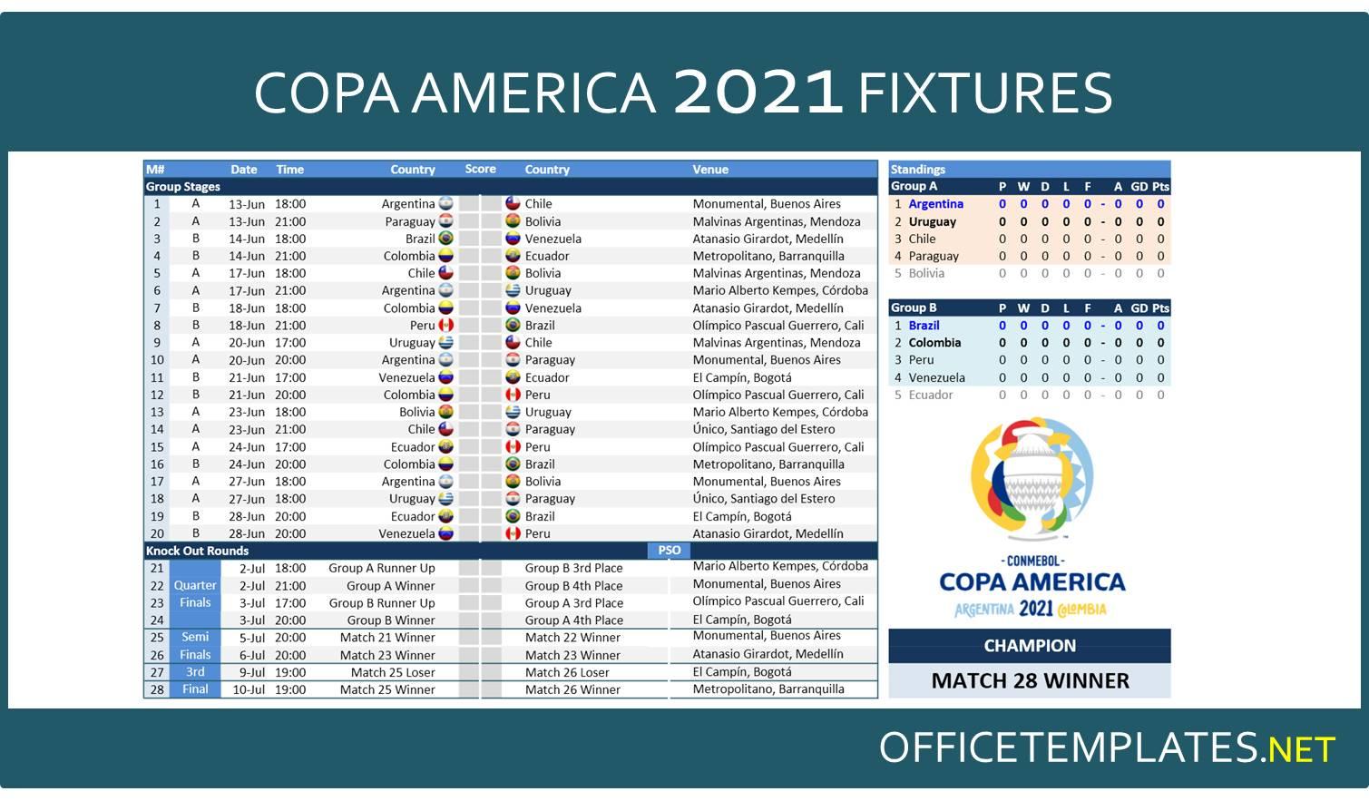 Calendrier Copa America 2022 Pdf Copa America 2021 Schedule and Scoresheet » OFFICETEMPLATES.NET
